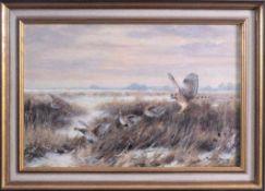 Paul W. Dahms 1913-1988, 4 Fasanenweibchen und 1 RaubvogelÖl auf Leinwand gemalt, unten rechts