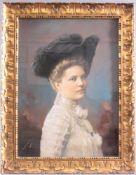 Damenbildnis des 19. JahrhundertGouache auf Karton, links unten signiert, F. Langhammer,ca. 64 x