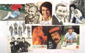 10 ORIGINALUNTERSCHRIFTEN AUF AUTOGRAMMKARTEN: Lex Barker, Franco Nero, Paul Rubin, Bata Ilic,