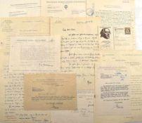 SAMMLUNG AUTOGRAPHEN, ca. 100 Teile, 1918-1967, Briefe, Postkarten, Bescheinigungen etc., hand- u.