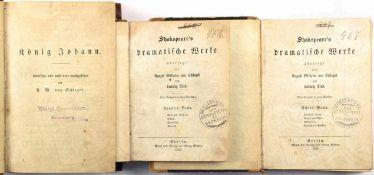 """SHAKESPEARE´S DRAMATISCHE WERKE, Bd. 2, 8 u. 9; beigebunden in Bd. 2 """"König Johann"""", von Schlegel/"""