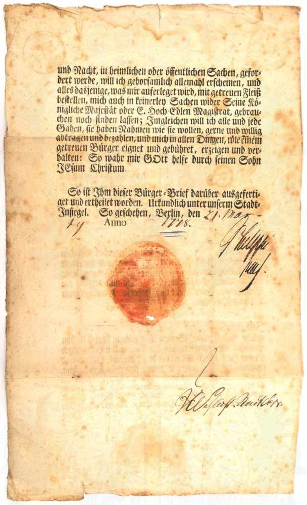 "BÜRGER-BRIEF BERLIN 1778, für Carl Friedrich Frantz, m. Tinten OU Johann Albrecht ""Philippi"" (1721- - Bild 2 aus 2"