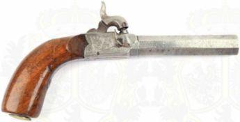 PERKUSSIONS-TASCHENPISTOLE, gezogener achtkantiger Lauf aus Ätzdamast, ca. Kal. 14mm, Schloßteile m.