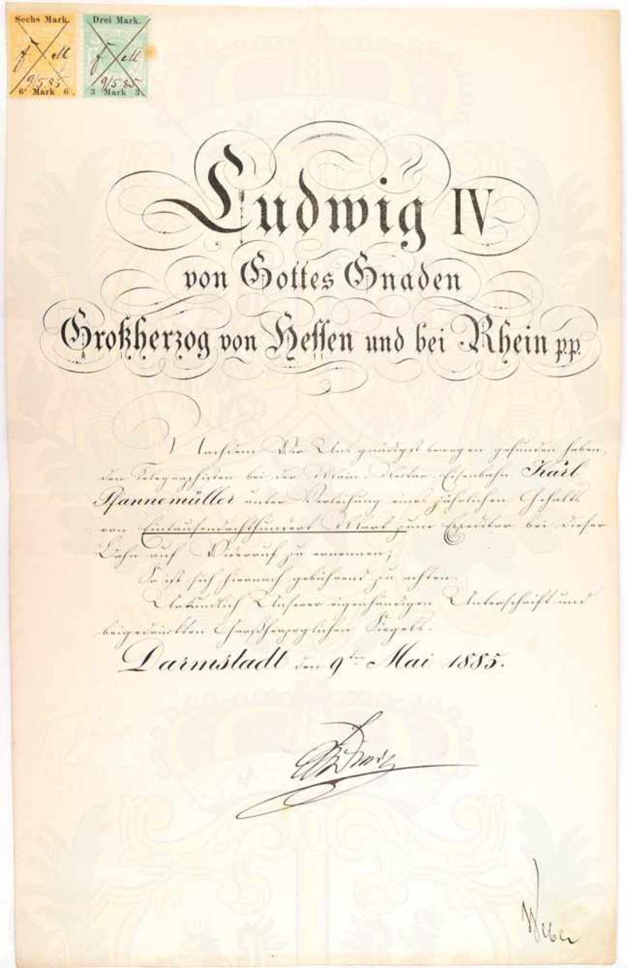 """LUDWIG IV., Großherzog von Hessen-Darmstadt (1837-1892), Tinten OU """"Ludwig"""" auf Ernennungs-Urkunde"""