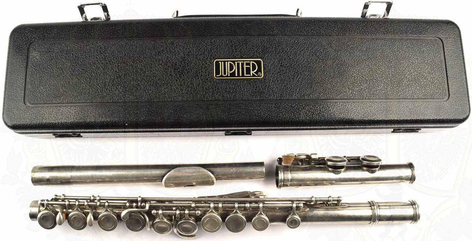 "QUERFLÖTE, Leichtmetall/vernickelt, m. Kopf-, Mittel u. Fußstück, Herst. ""Jupiter"", K.H.S. Musical - Bild 2 aus 4"