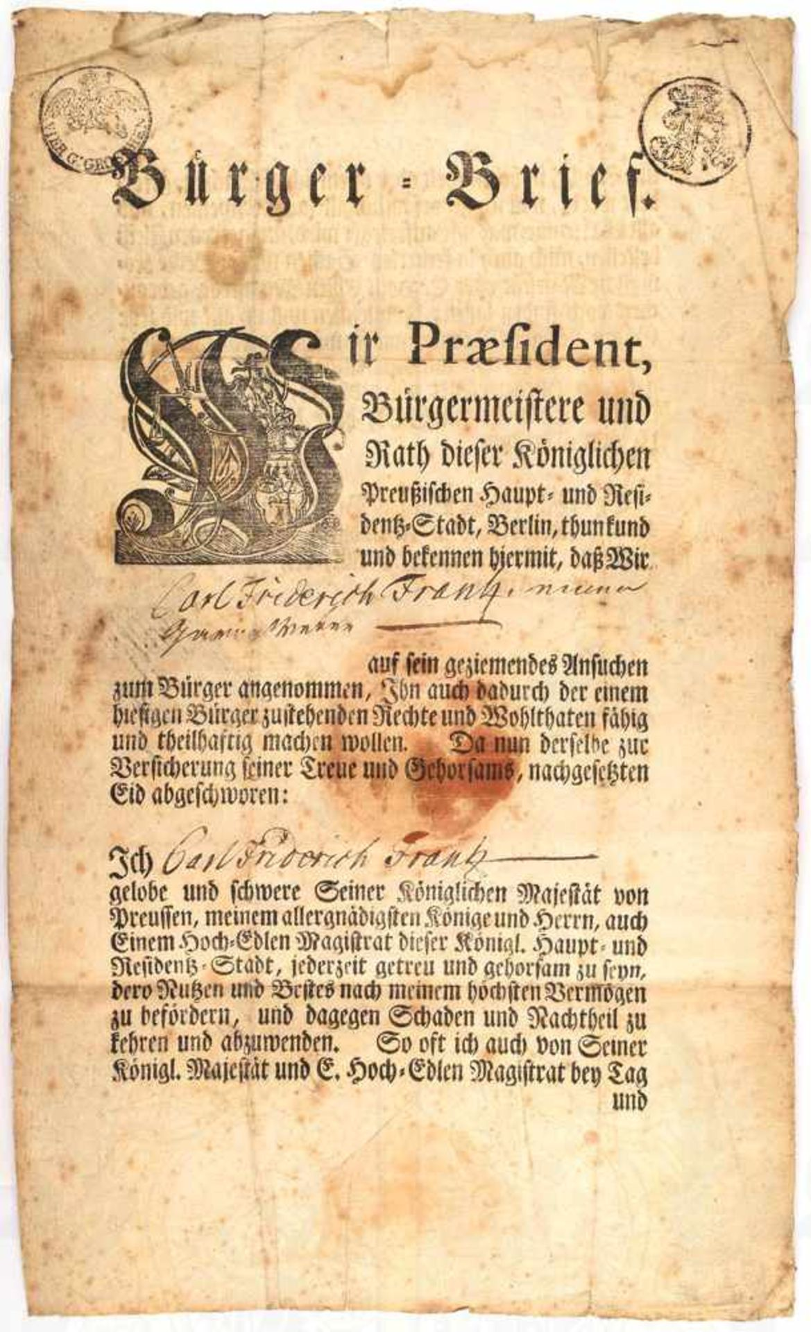 """BÜRGER-BRIEF BERLIN 1778, für Carl Friedrich Frantz, m. Tinten OU Johann Albrecht """"Philippi"""" (1721-"""