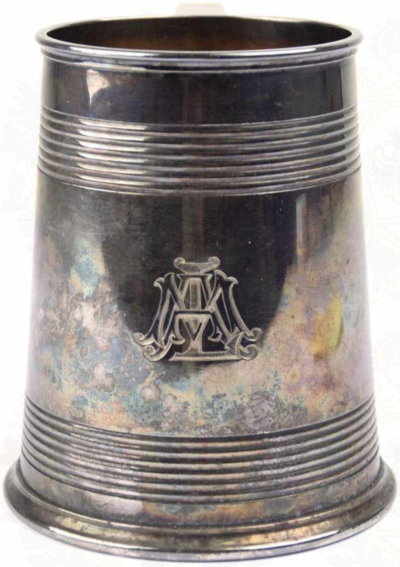 """SILVER-PLATED-BIERKRUG, 1/2 L., Hersteller """"Elkington &. Co."""" sowie """"A 2437"""" im Bodenrand, Henkel - Bild 2 aus 7"""