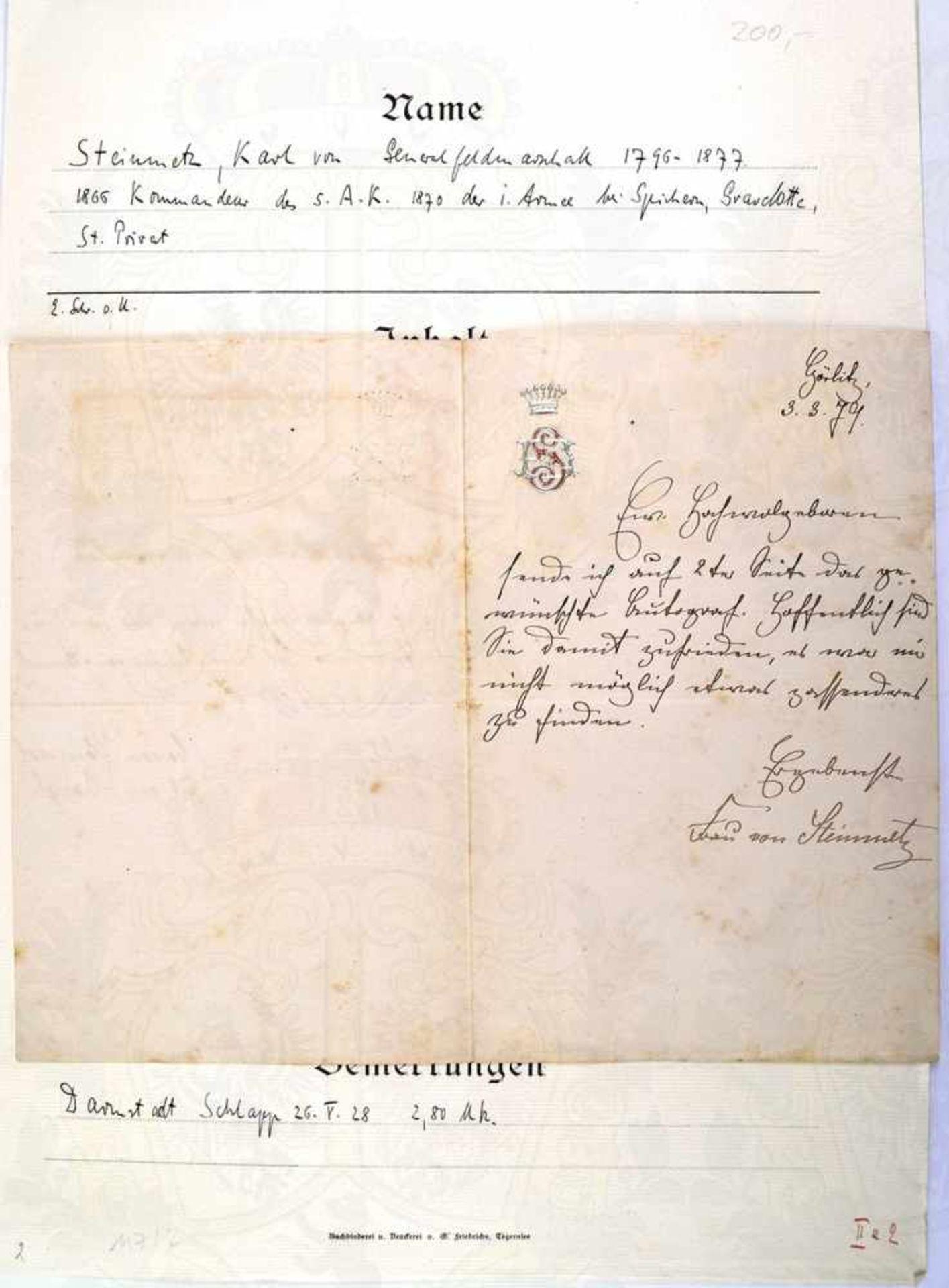 STEINMETZ, KARL VON, 1796-1877, Preußischer Generalfeldmarschall, Briefausschnitt mit