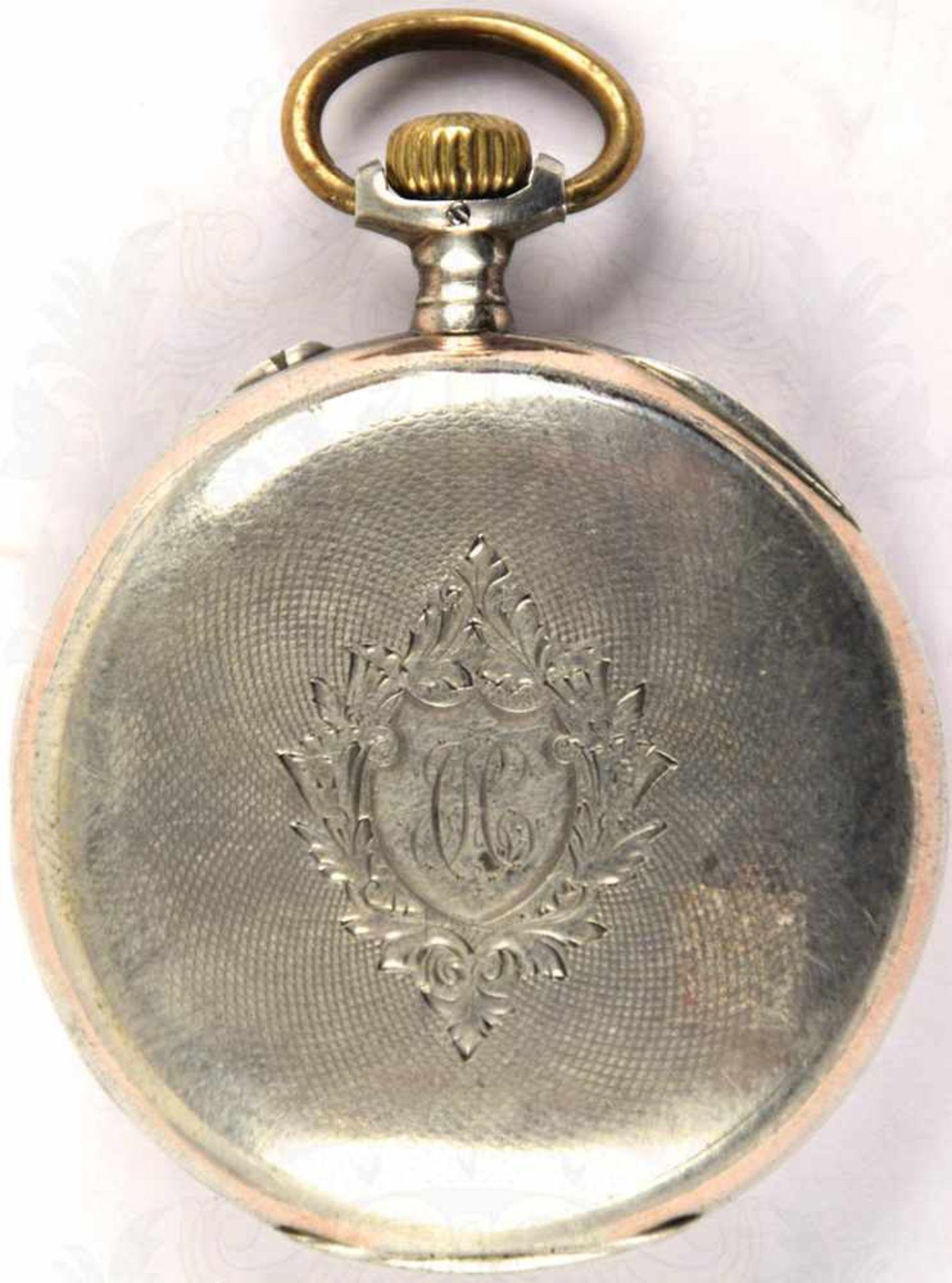 """HERREN-TASCHENUHR, Marke """"Longines"""", um 1900, Punze """"800"""", Kronenaufzug, Tragering u. Zeiger - Bild 5 aus 5"""
