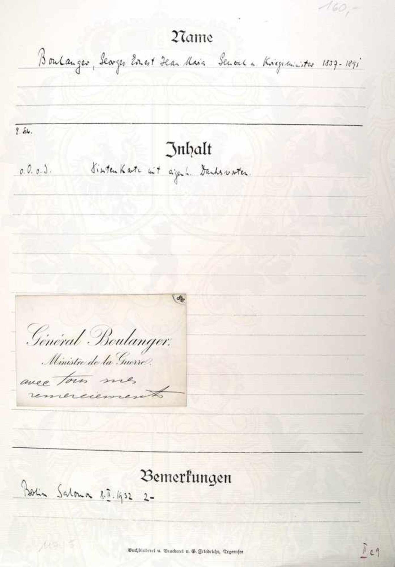 BOULANGER, GEORGES, 1837-1891, Französischer General und Kriegsminister, Visitenkarte mit