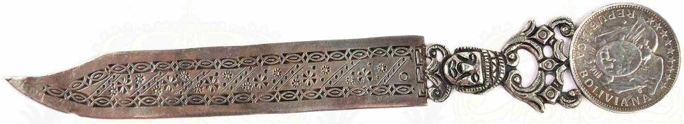 """BRIEFÖFFNER, Silberblech, Klinge mit Punze """"900"""" sowie ornamentalem/floralem Dekor, durchbrochener"""