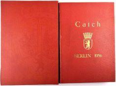 ERINNERUNGSALBUM CATCH BERLIN 1956, großf. gld.gepr. Leder, m. ca. 160 Fotos u. weiteren Druckbilder