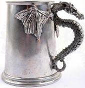 BIERHUMPEN, ca. 0,5 L., Leichtmetall, mit Drachengriff, vollplastische Ausführung u. detailgetreue