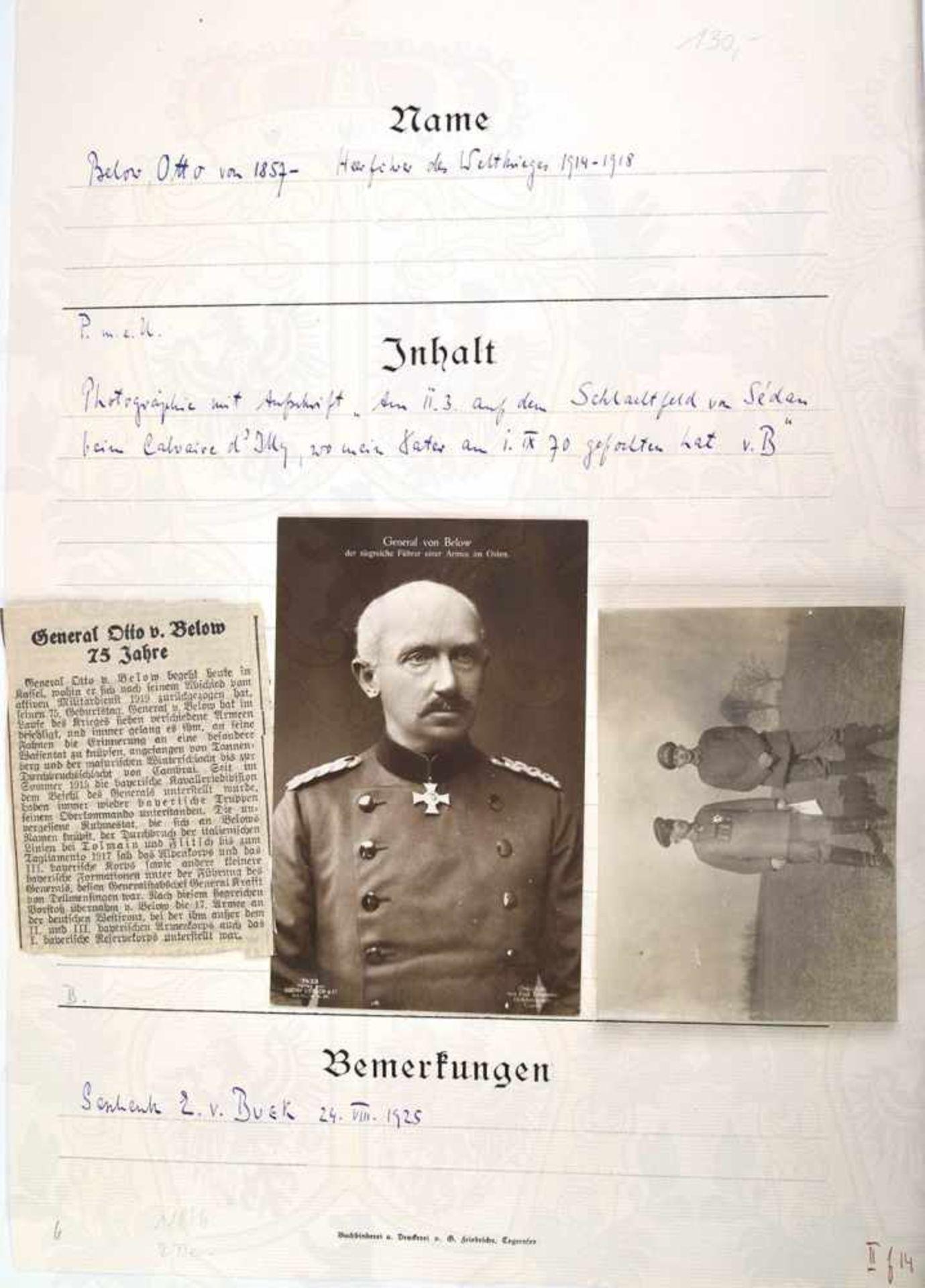 BELOW, OTTO VON, 1857-1944, Preußischer General der Infanterie u. Heerführer im 1. WK, Frontaufnahme