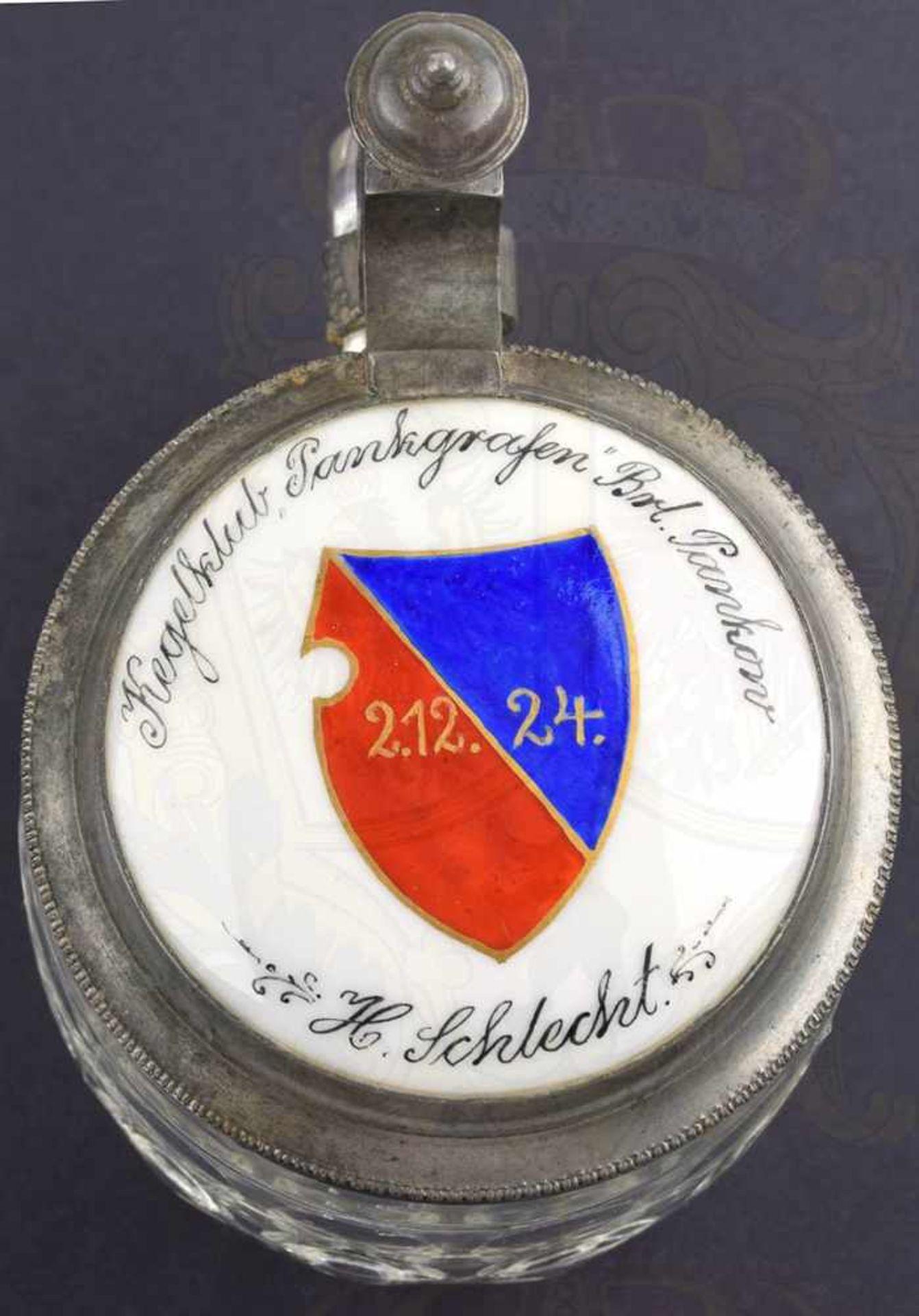 """BIERKRUG PANKGRAFENSCHAFT BERLIN, 1/4 L., Glas mit 2 Reihen """"Bullaugen"""", Boden m. Symbol einer - Bild 2 aus 3"""