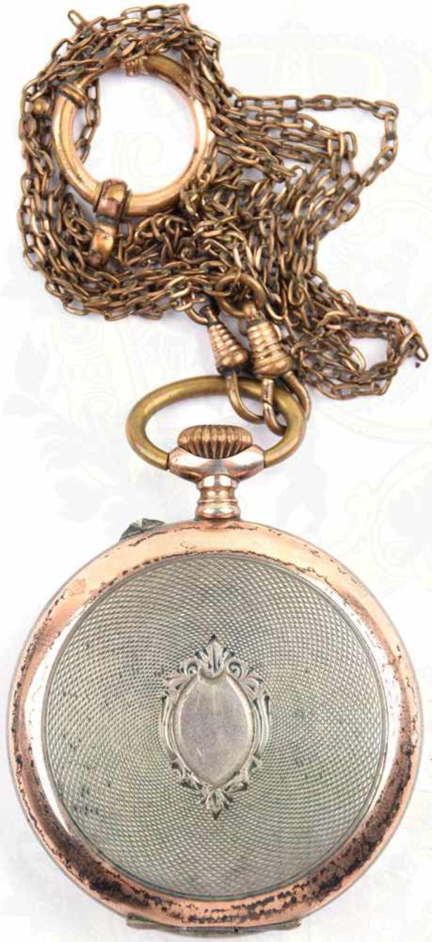 """TASCHENUHR, Deutschland um 1900, Silber, Deckel innen punziert """"800"""" mit Halbmond u. Krone, - Bild 3 aus 3"""