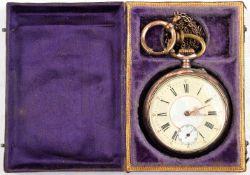 """TASCHENUHR, Deutschland um 1900, Silber, Deckel innen punziert """"800"""" mit Halbmond u. Krone,"""