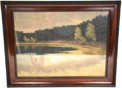 NORDUFER DES GRUNEWALDSEE, Farbdruck nach Gemälde, von links her in die Bildmitte das nördl. Ende