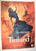 FILMPLAKAT - TIEFLAND, v. Leni Riefenstahl, farb., 85x61cm, (Uraufführung 1954, Drehbeginn 1940,