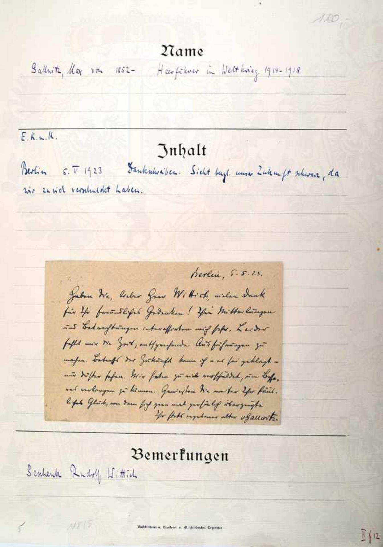GALLWITZ, MAX VON, 1852-1937, Preußischer General der Artillerie u. Abgeordneter d. DNVP,