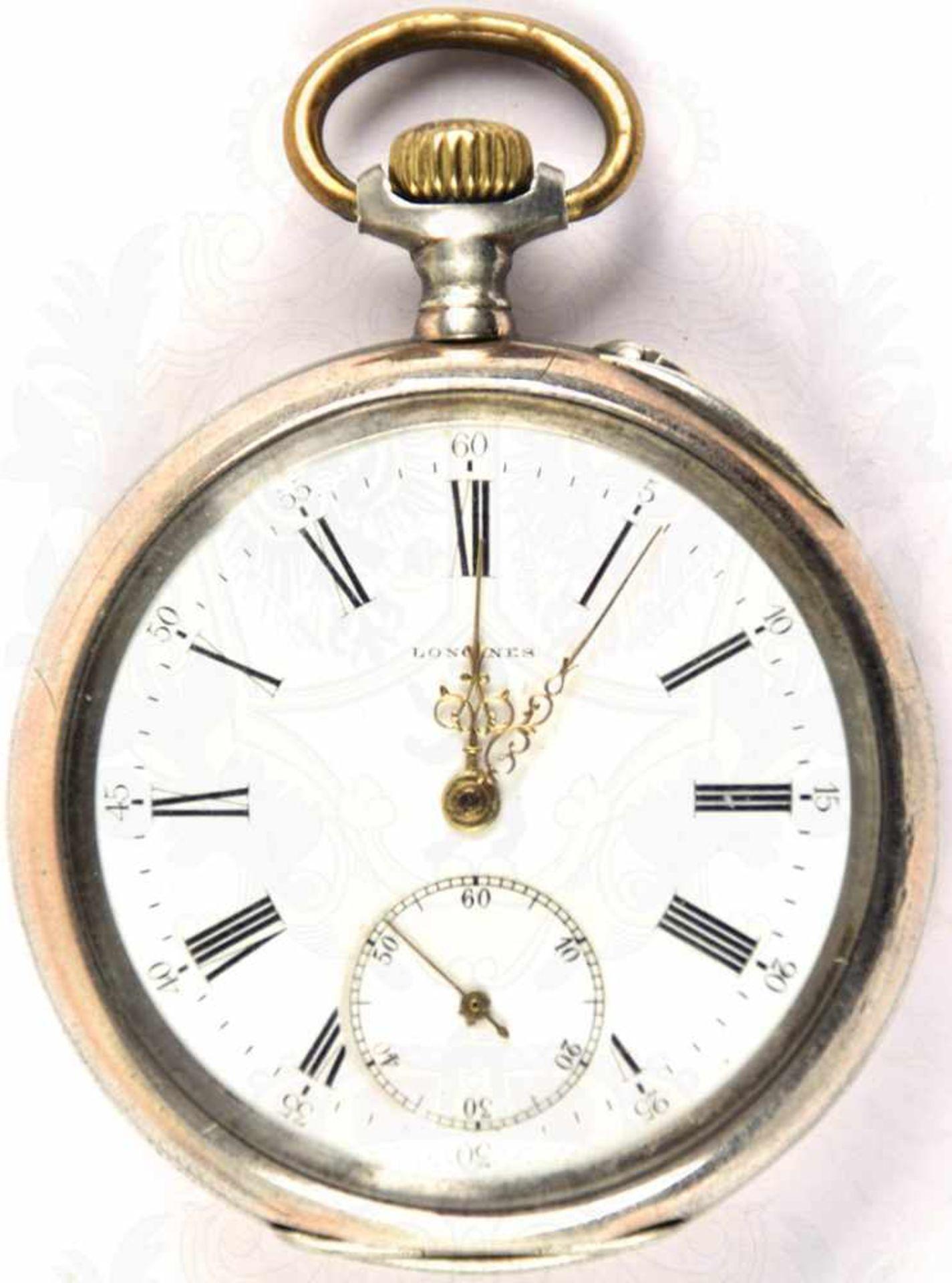 """HERREN-TASCHENUHR, Marke """"Longines"""", um 1900, Punze """"800"""", Kronenaufzug, Tragering u. Zeiger - Bild 4 aus 5"""