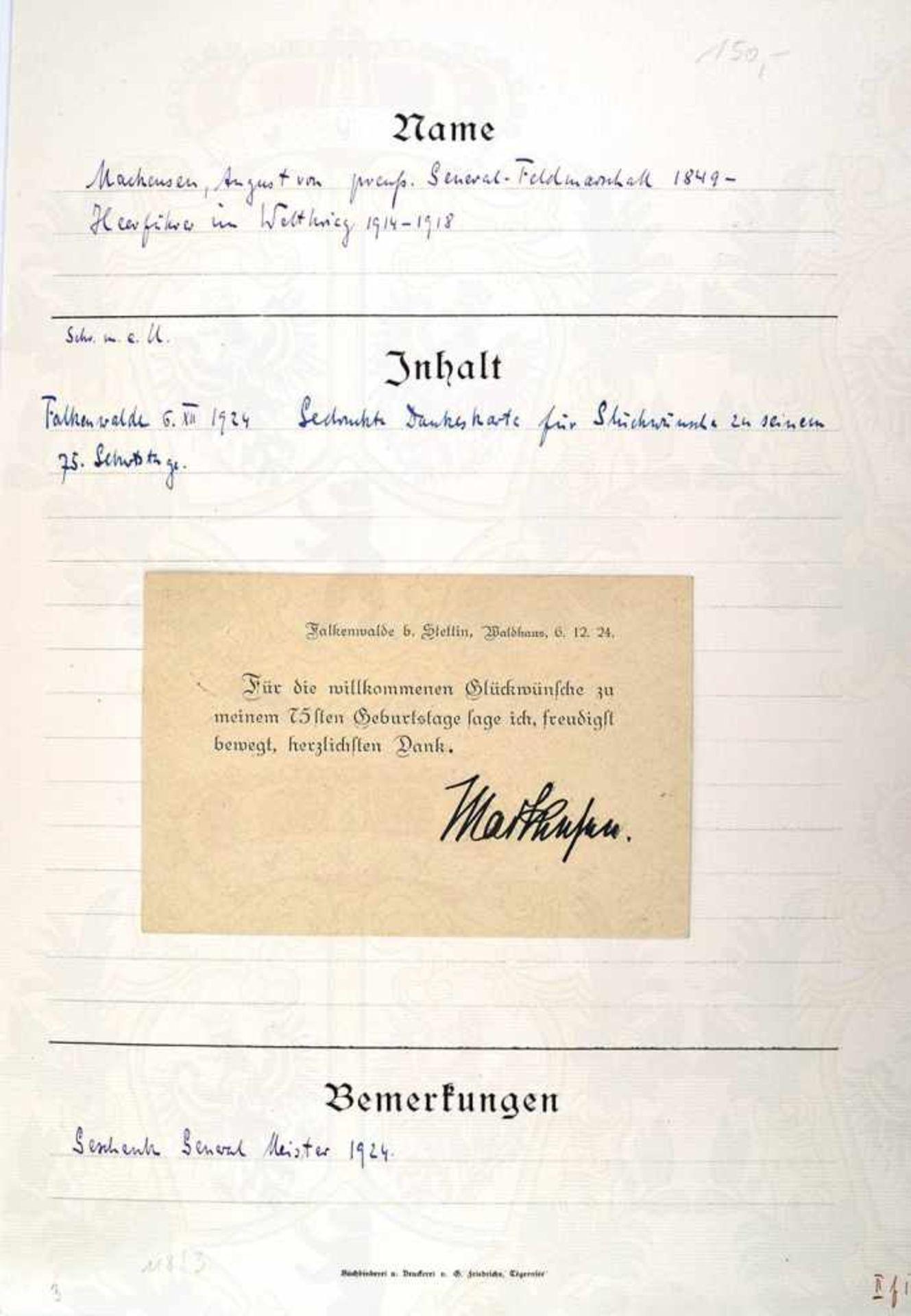 MACKENSEN, AUGUST VON, 1849-1945, Preußischer Generalfeldmarschall u. Heerführer im 1. WK, Tinten OU