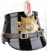 TSCHAKO POLIZEI WESTBERLIN, f. Mannschaften, so getragen 1962-1968, schwarzer Fiberkorpus, je 2