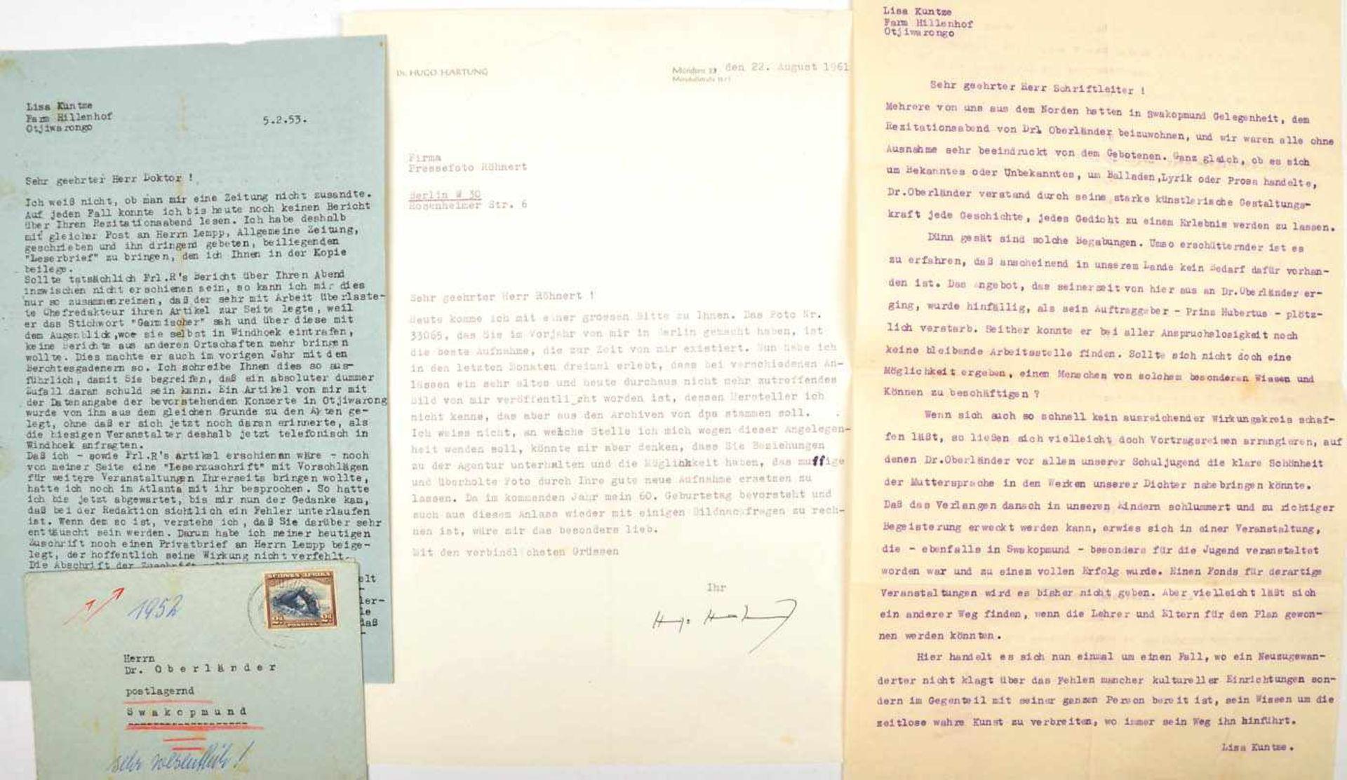 KUNTZE, LISA, (1909-2001), dt. Schriftstellerin, seit 1949 in Südwestafrika, Brief 5.2.1953, m.
