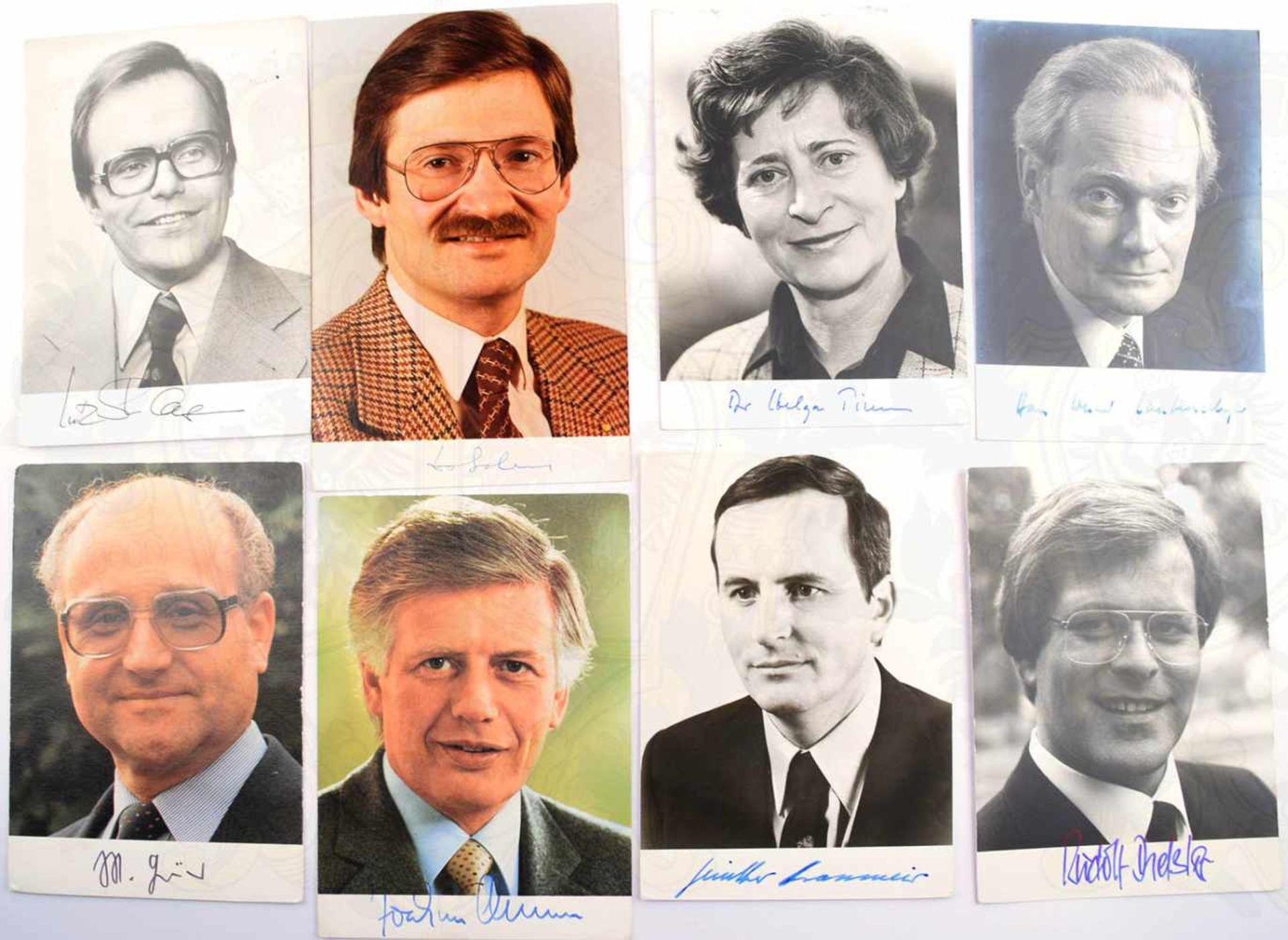 100 AUTOGRAMMKARTEN DEUTSCHE POLITIK 1979-1987, Bundesminister, Staatsminister Parlamentarische