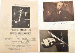 2 ORIGINALUNTERSCHRIFTEN MUSIKER UND DIRIGENTEN: Yehudi Menuhin (1916-1999), US-amerik. Geiger,