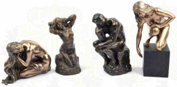 """4 PLASTIKEN, Der Denker u. Venusdarstellung v. Rodin, Naturharz, bronziert, Herst. """"Mouseion"""","""