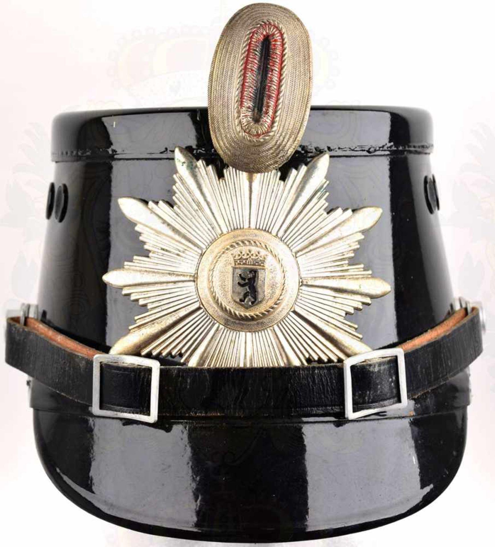 TSCHAKO POLIZEI WESTBERLIN, für Mannschaften, so getragen 1962-1968, schwarzer Fiberkorpus, je 2 - Bild 2 aus 3