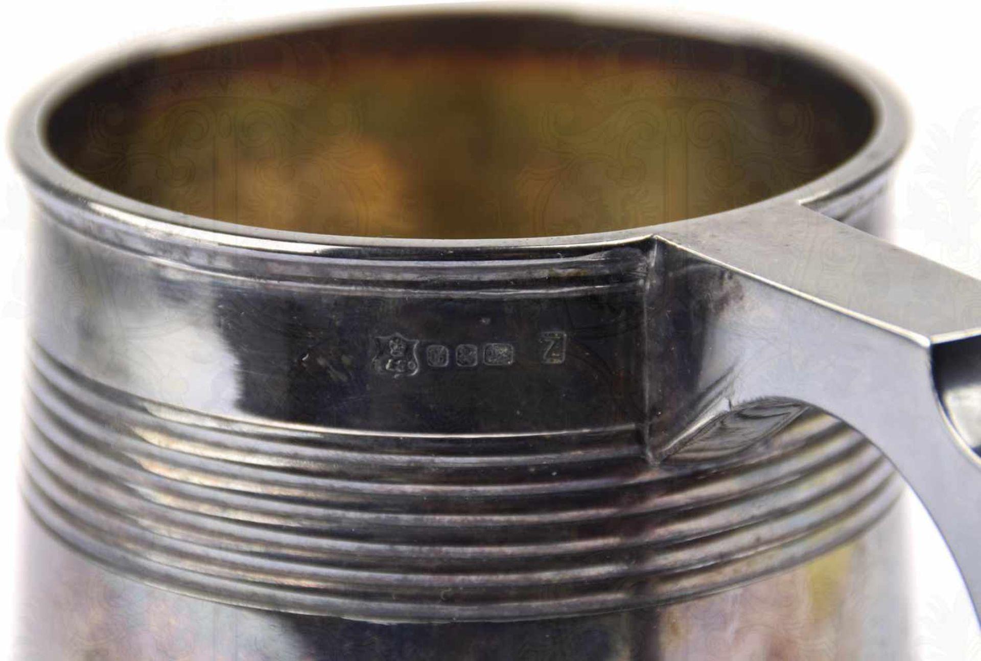 """SILVER-PLATED-BIERKRUG, 1/2 L., Hersteller """"Elkington &. Co."""" sowie """"A 2437"""" im Bodenrand, Henkel - Bild 5 aus 7"""