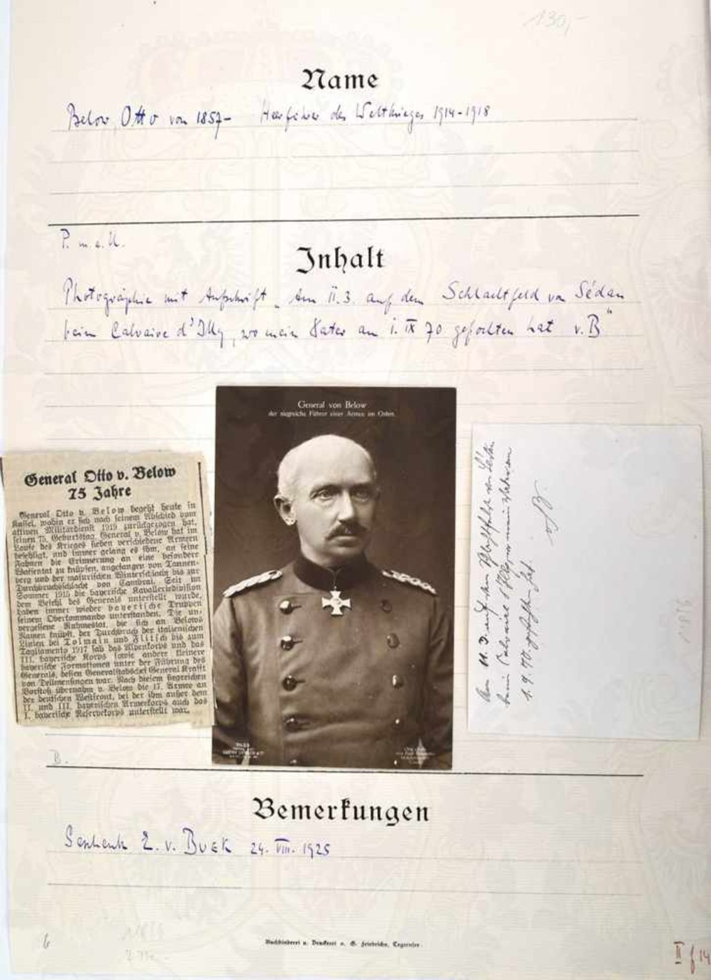 BELOW, OTTO VON, 1857-1944, Preußischer General der Infanterie u. Heerführer im 1. WK, Frontaufnahme - Bild 2 aus 2