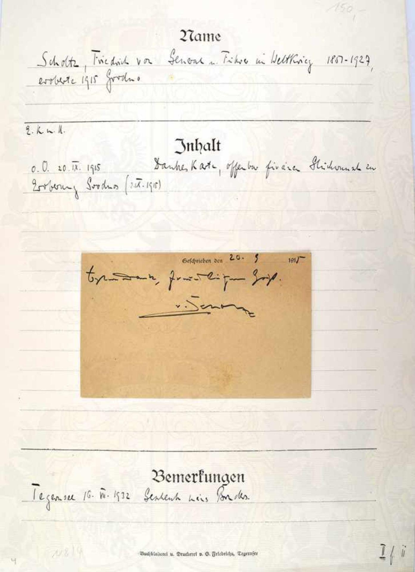 SCHOLTZ, FRIEDRICH VON, 1857-1927, Preußischer General der Artillerie, eigenhändige Danksagung auf