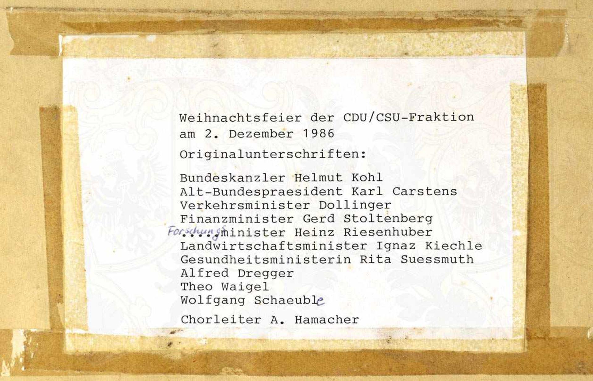 11 ORIGINAL-UNTERSCHRIFTEN von Politikern der CDU/CSU-Bundestagsfraktion auf einem Notenblatt zum - Bild 4 aus 4