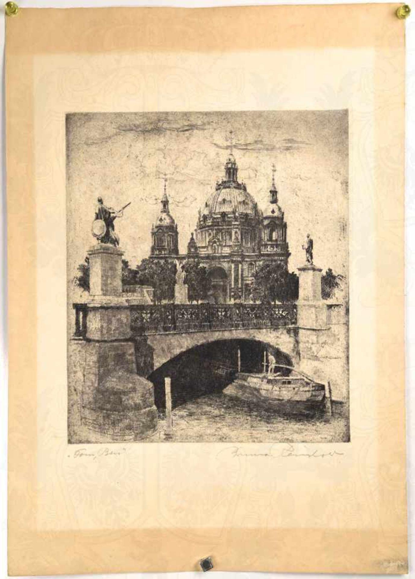 3 RADIERUNGEN ALTES BERLIN: Berliner Stadtschloss, Berliner Dom u. Jüdenhof, 20er/ 30er Jahre,