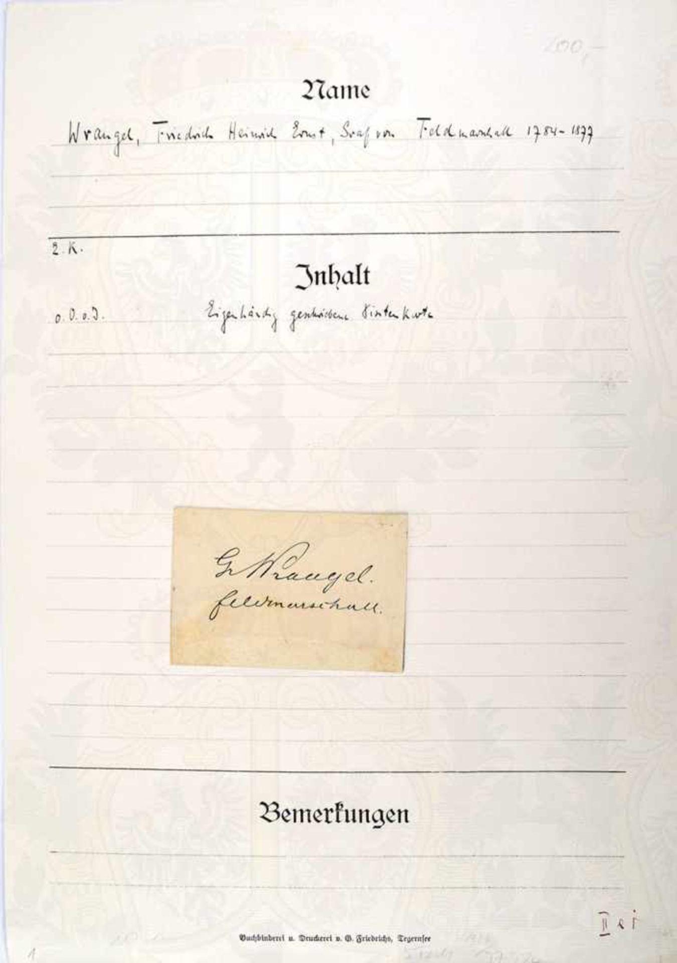 WRANGEL, GRAF FRIEDRICH VON, (1784-1877), Preußischer Generalfeldmarschall, eigenhändige