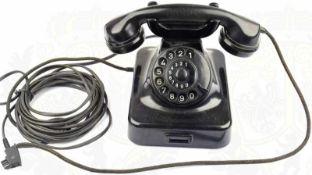 """WÄHLSCHEIBEN TELEFON W 48, schwarzes Bakelit, us. bez. """"Post W 48 Apr. (19)51"""" etc., kpl. m. Hörer"""