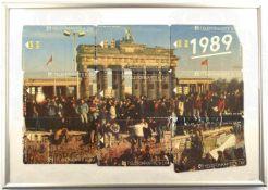 TELEFONKARTEN-PUZZEL BERLINER MAUERFALL 1989, Edition aus 9 Telefonkarten a. d. Jahre 1992, als