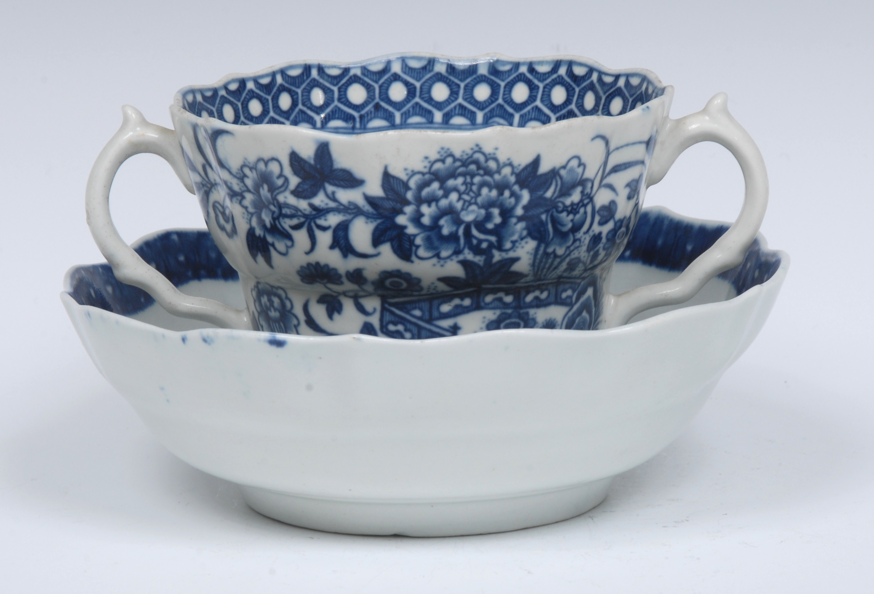 A Worcester Fence pattern ogee shaped chocolate cup and saucer, serpent handles, - Image 3 of 6