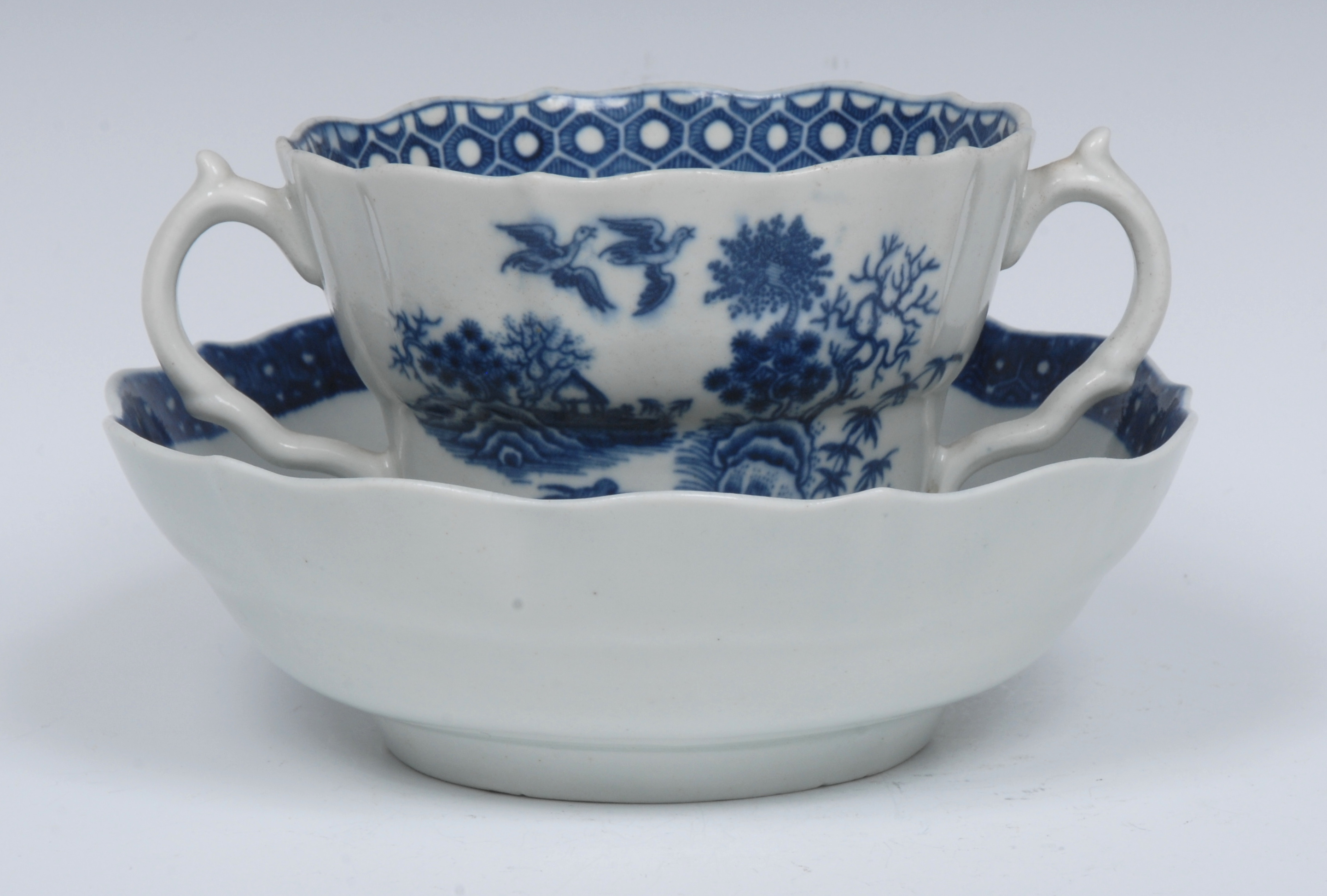 A Worcester Fence pattern ogee shaped chocolate cup and saucer, serpent handles, - Image 4 of 6