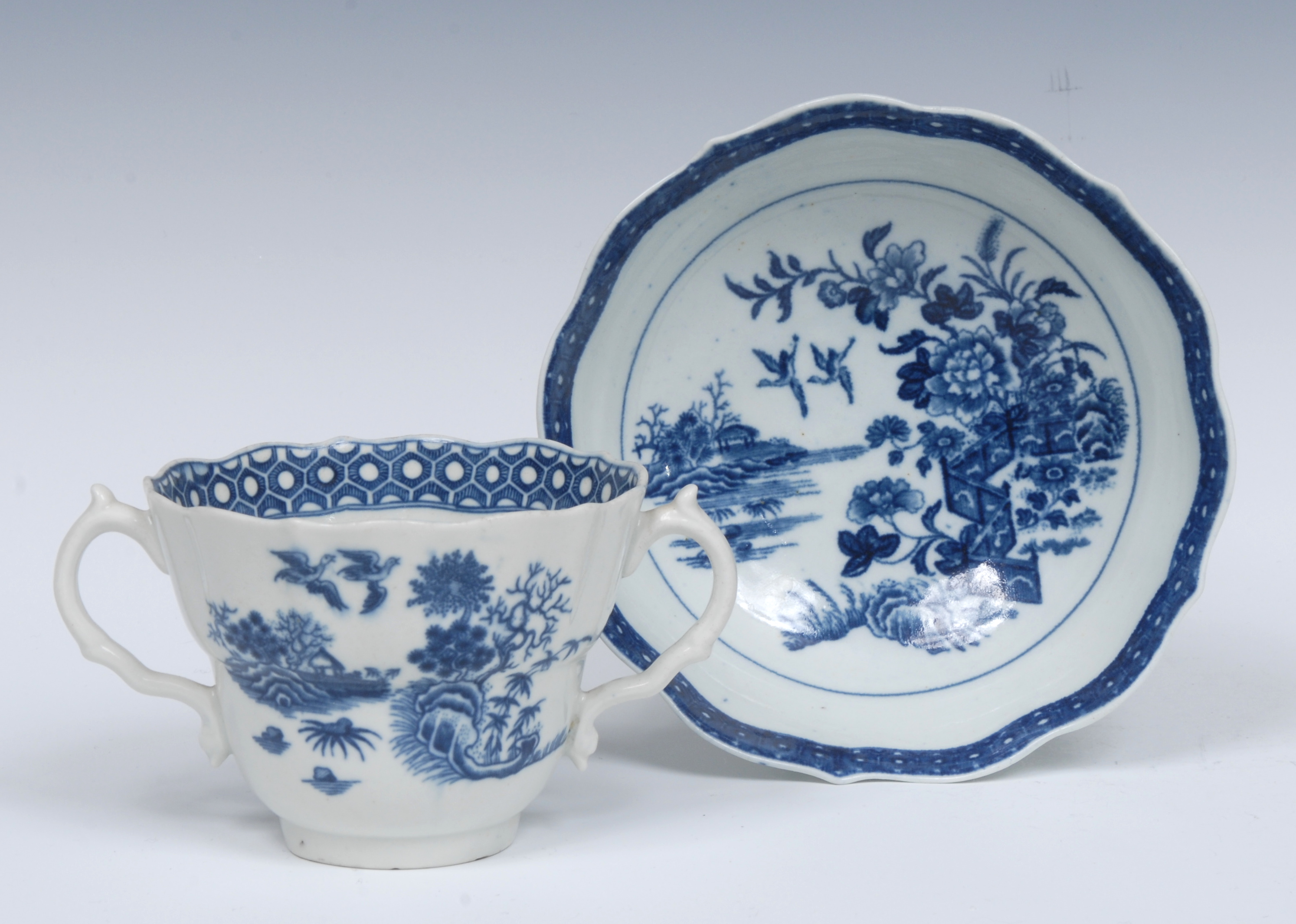 A Worcester Fence pattern ogee shaped chocolate cup and saucer, serpent handles, - Image 2 of 6