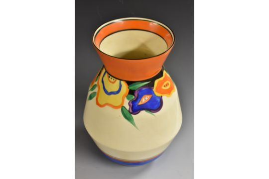 A Clarice Cliff Fantasque Garland Pattern Ovoid Vase Shape Number