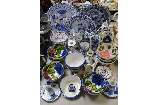 Ceramics Spanish Miolica Blue And White Bowls Others Floral Vases