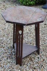 Lot 46 - Oak Arts & crafts table for restoration with heart cutouts