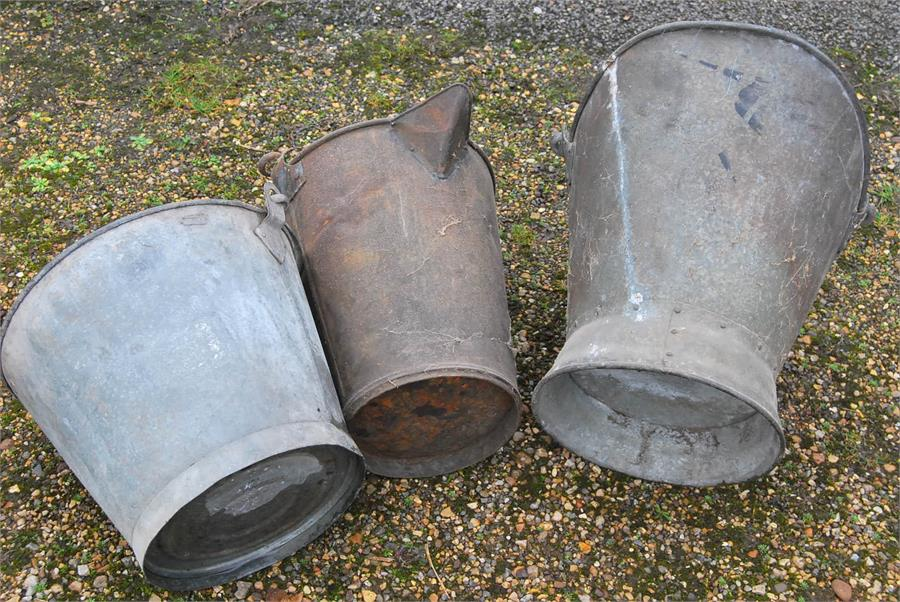 Lot 30 - Three galvanized buckets.
