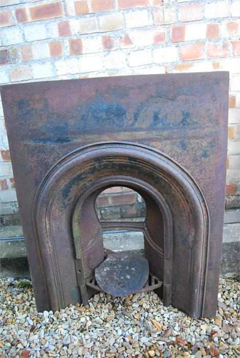Lot 14 - Cast Iron arched fire insert with York stone surround