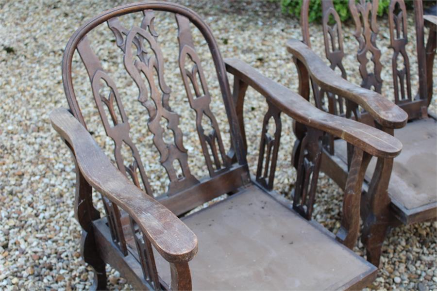 "Lot 48 - Arts and crafts style reclining steamer chairs, each stamped ""2176"""