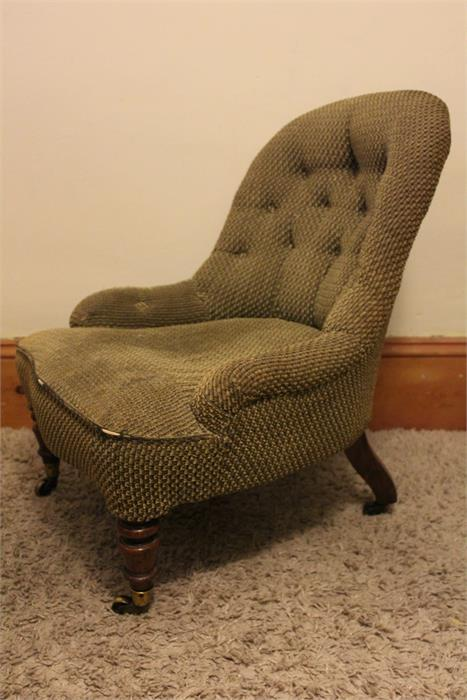Lot 41 - A 19th century Childs / Nursing chair, walnut turned front legs outswept rear, cope and collision